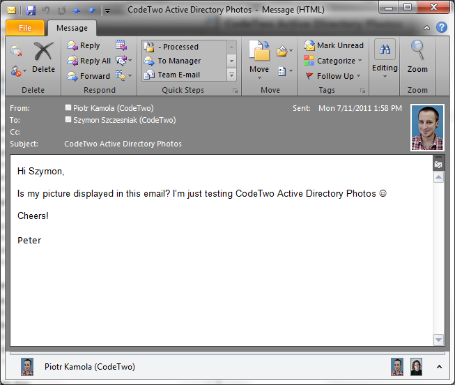 An Active Directory user's picture displayed in Outlook 2010 internal email