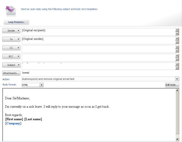 How to set up email auto responder on microsoft exchange for Auto reply email template