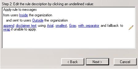 Exchange 2007 disclaimer text window