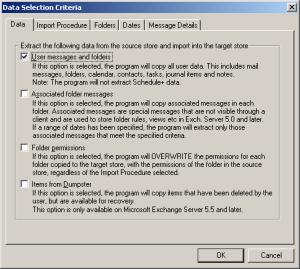 ExMerge Data Selection Criteria - Data