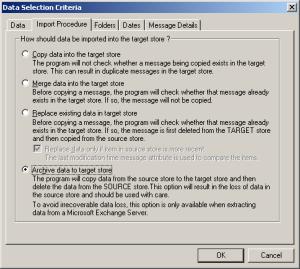 ExMerge Data Selection Criteria - Import Procedure