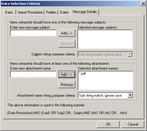 ExMerge Data Selection Criteria - Message Details