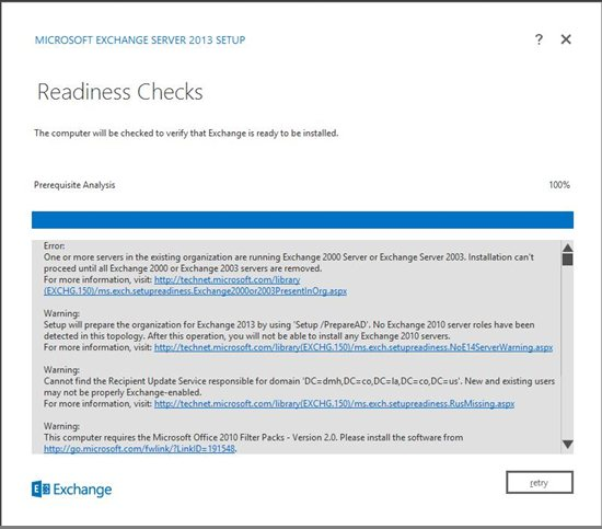 Exchange 2013 setup Readiness Checks after detecting an Exchange 2000 or 2003 installation in the domain