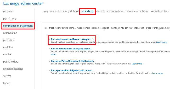 Exchange admin center: Run a non-owner mailbox access report…