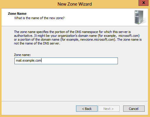 DNS Manager: Third step of creating new zone