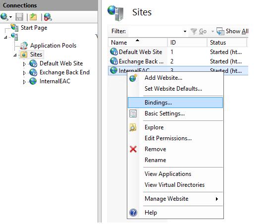 Setting bindings for websites