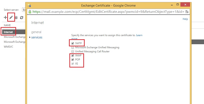 Exchange admin center: Assigning services to a new certificate