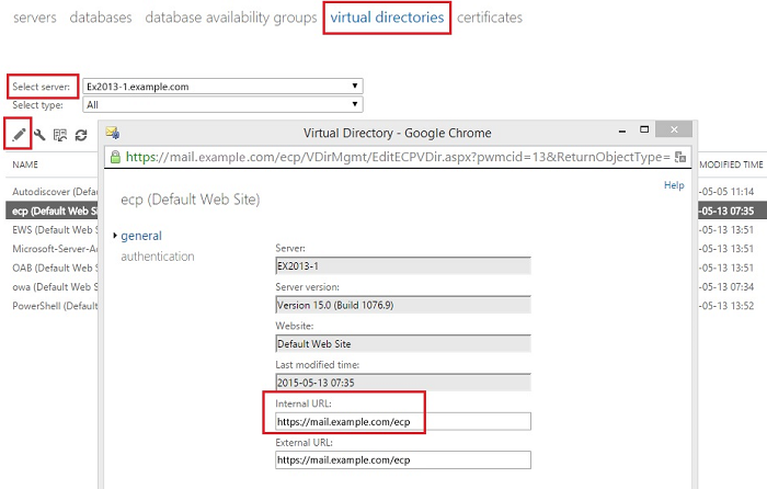 Exchange admin center: Configuring an internal URL for a virtual directory