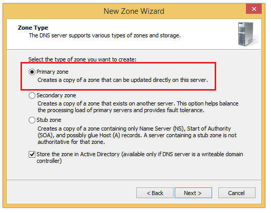 DNS Manager: First step of creating new zone