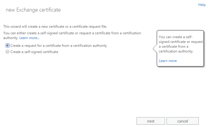 Exchange admin center: The first step of the certificate request wizard