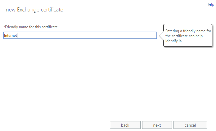 Exchange admin center: The second step of the certificate request wizard