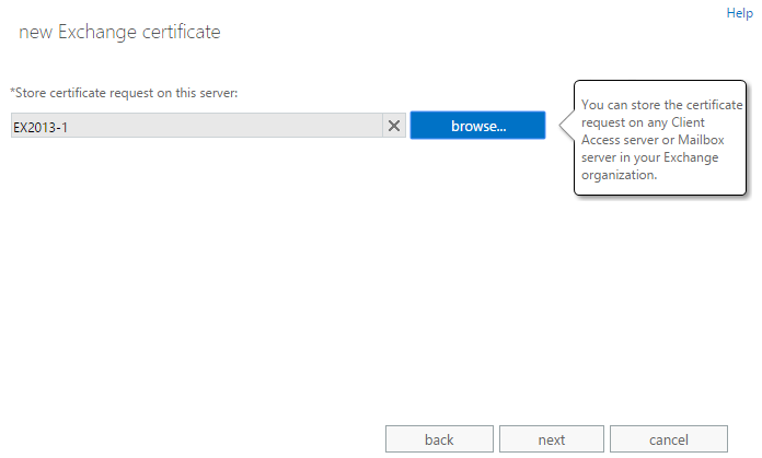 Exchange admin center: The fourth step of the certificate request wizard