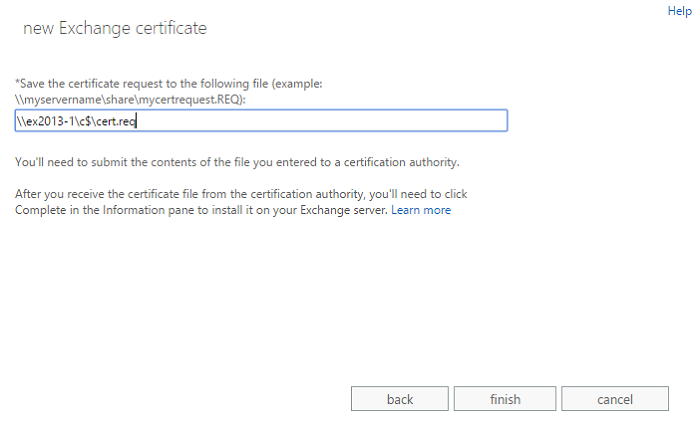 Exchange admin center: The final step of the certificate request wizard