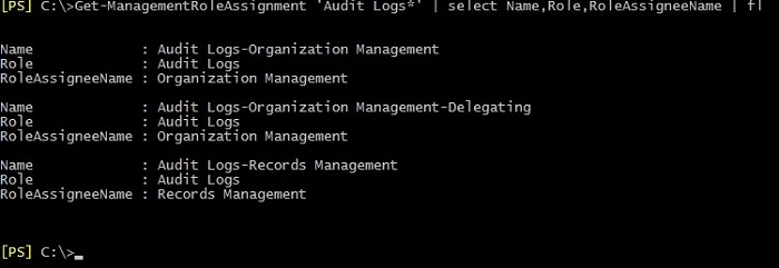 A list of assignments of the Management Role