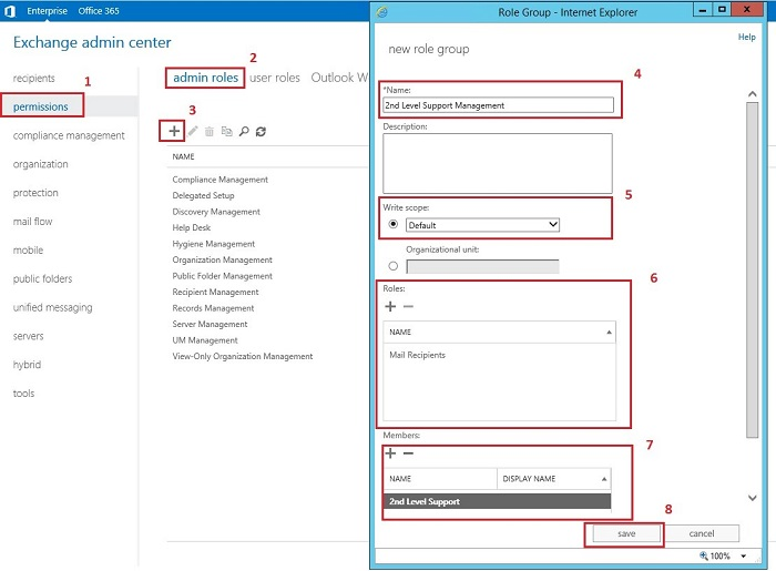 A step-by-step example of creating a new Admin Role