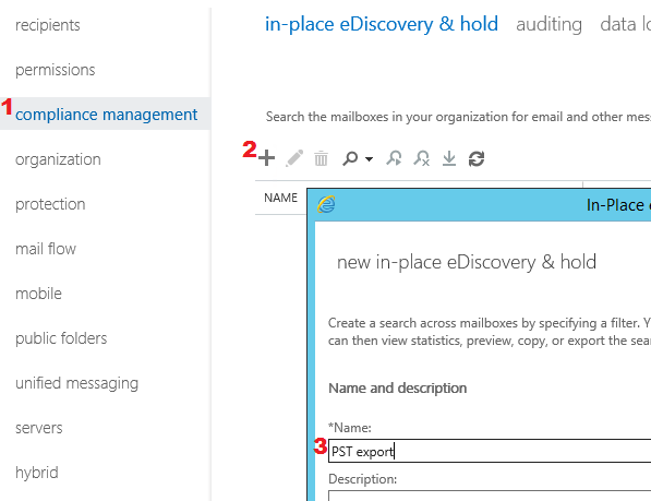 Starting a new in-place eDiscovery & hold wizard