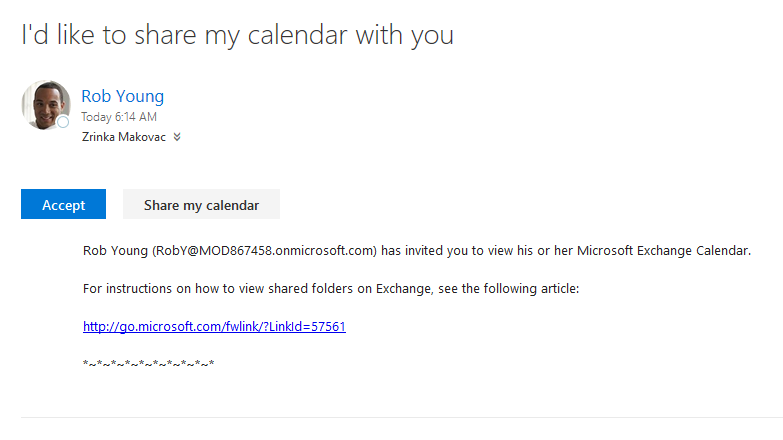 Office 365 - I'd like to share my calendar with you message
