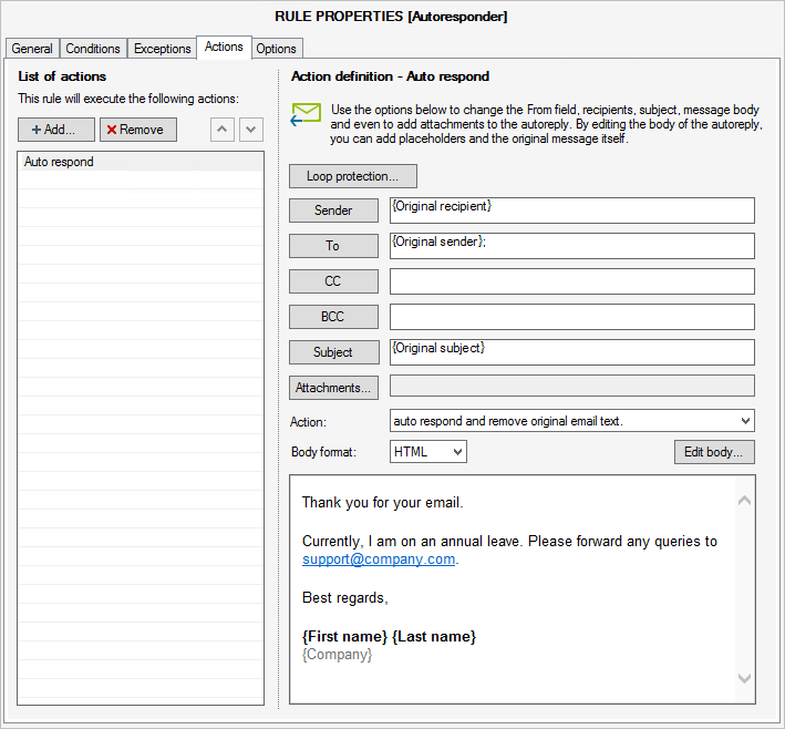 Configure your auto respond action in CodeTwo Exchange Rules Pro.