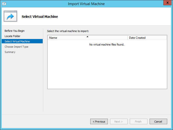 When trying to select a virtual machine exported from Windows 10 , it does not appear on the list.