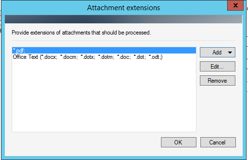 List of extensions in the Strip/dump attachments action