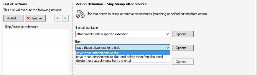 Configuring the Strip/dump attachments action