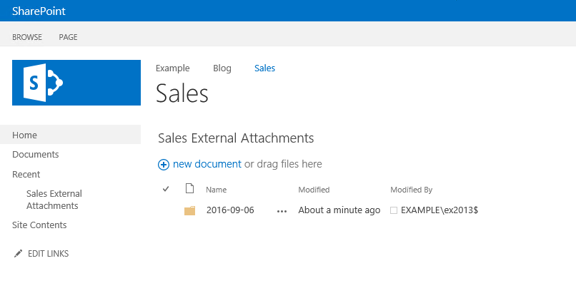A folder in a SharePoint library named after an email send date