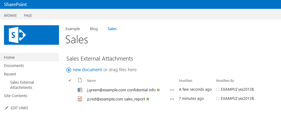 Email attachments saved in a SharePoint library