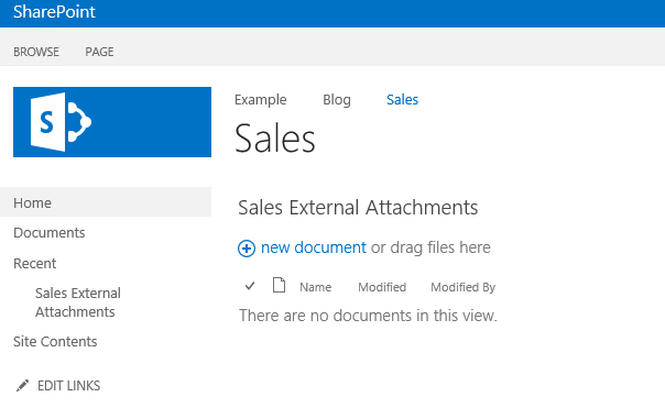 A new library created in SharePoint