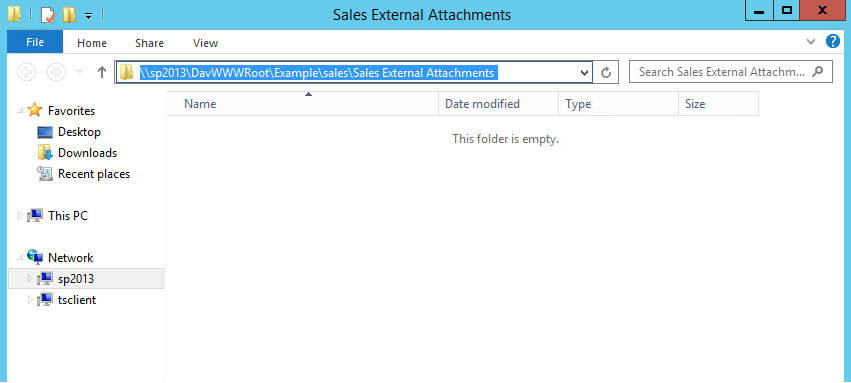 A SharePoint library accessed via Windows Explorer