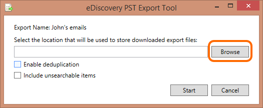 Browse the location where a PST files will be stored.