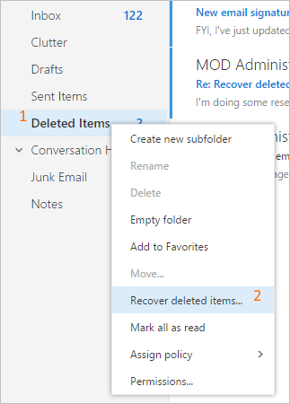 Recover deleted items from the Recoverable Items folder