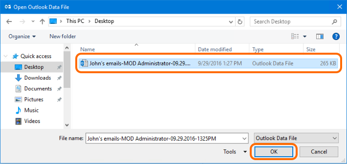 Select the PST file to open it in Outlook