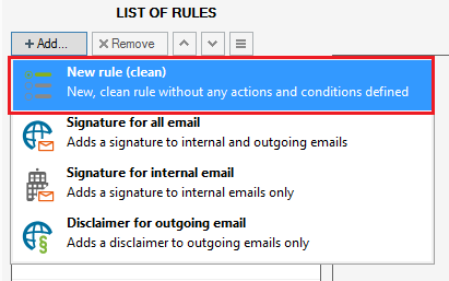 Adding a new email signature rule in CodeTwo Exchange Rules