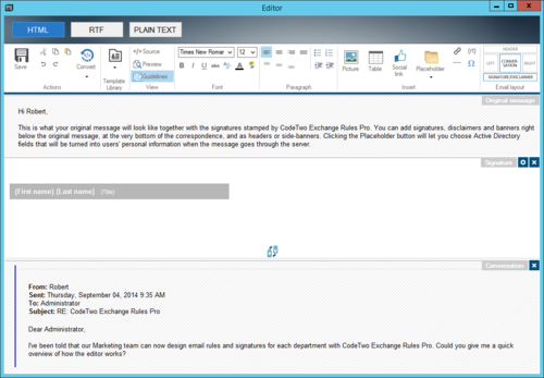 Composing a template for a short version of an email signature