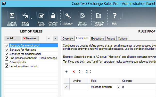 This is how the Administration Panel of CodeTwo Exchange Rules Pro looks like.