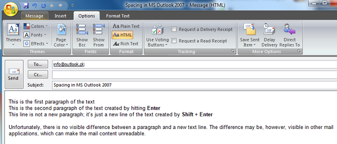 Spaces in a MS Outlook 2007 e-mail message