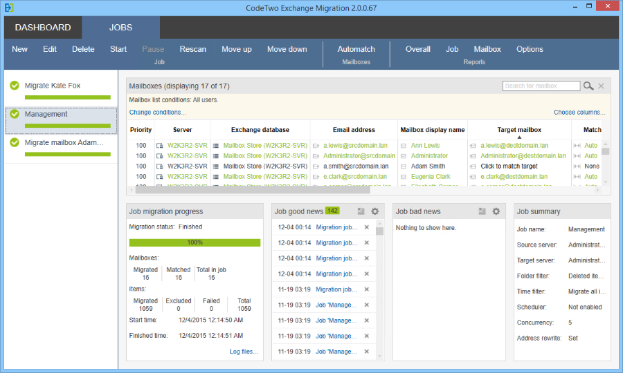 Under the Jobs tab of CodeTwo Exchange Migration you can manage the migration process.
