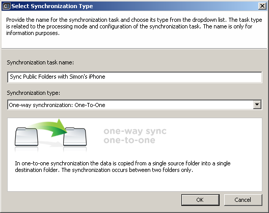 Selecting synchronization type to sync iPhone with Exchange Server