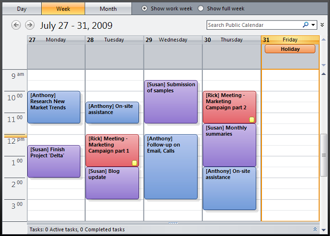 Common company calendar created by CodeTwo Exchange Sync