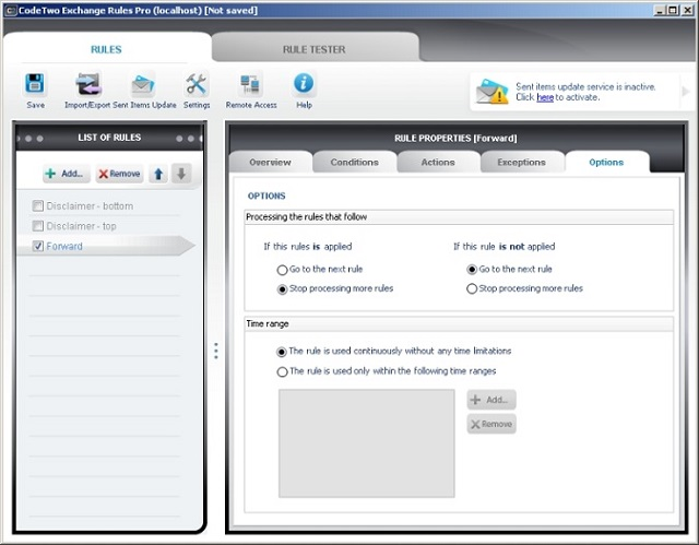 Additional options for forwarding mail in Exchange