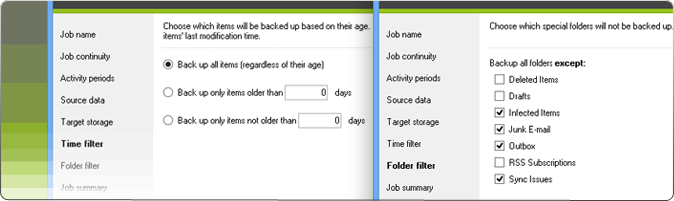 CodeTwo Backup for Office 365: Item filtering options