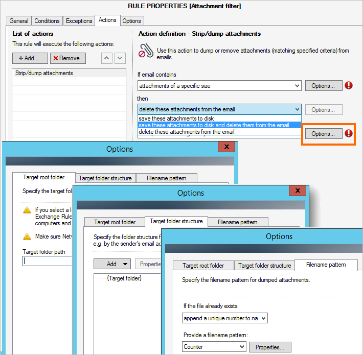 Actions performed on attachments in CodeTwo Exchange Rules PRO