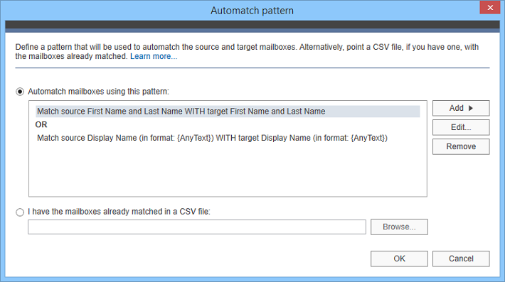 CodeTwo migration solutions - Automatch pattern editor
