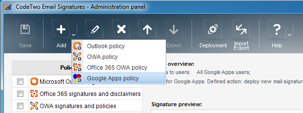 CodeTwo Email Signatures - for Google Apps - select your policy