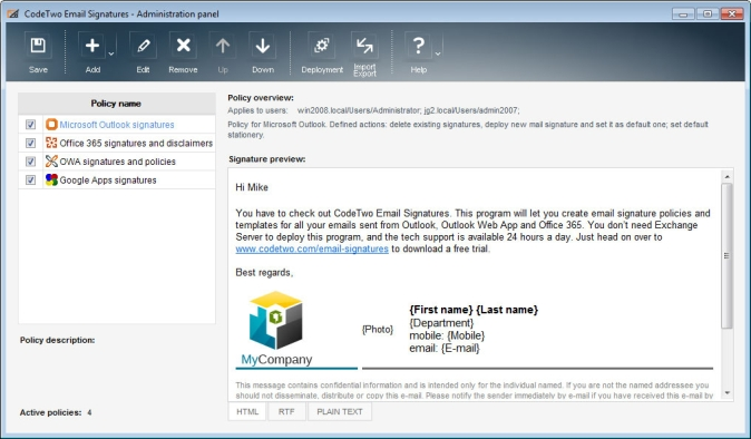 CodeTwo Email Signatures for Google Apps