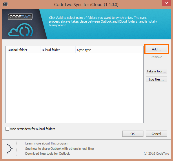 CodeTwo Sync for iCloud settings window.