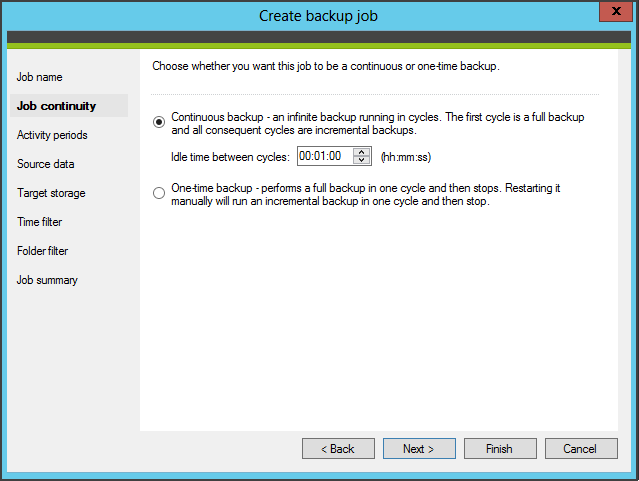 Select continuous or one time backup