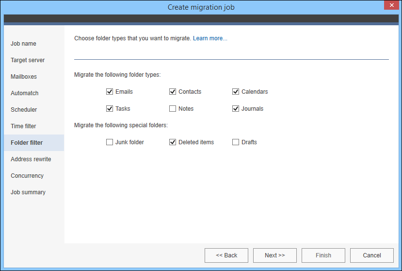 Setting up Folder filter in migration job