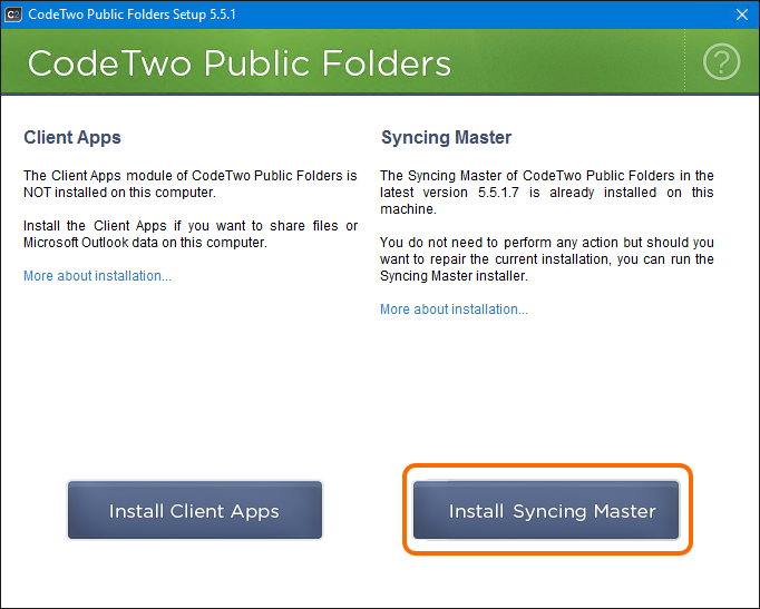 Install the Syncing Master to share calendars in Outlook 2016, 2013, 2010 and 2007.