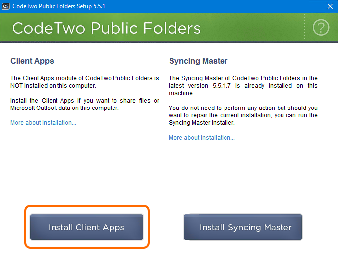 Installation of the Client Apps module of CodeTwo Public Folders.